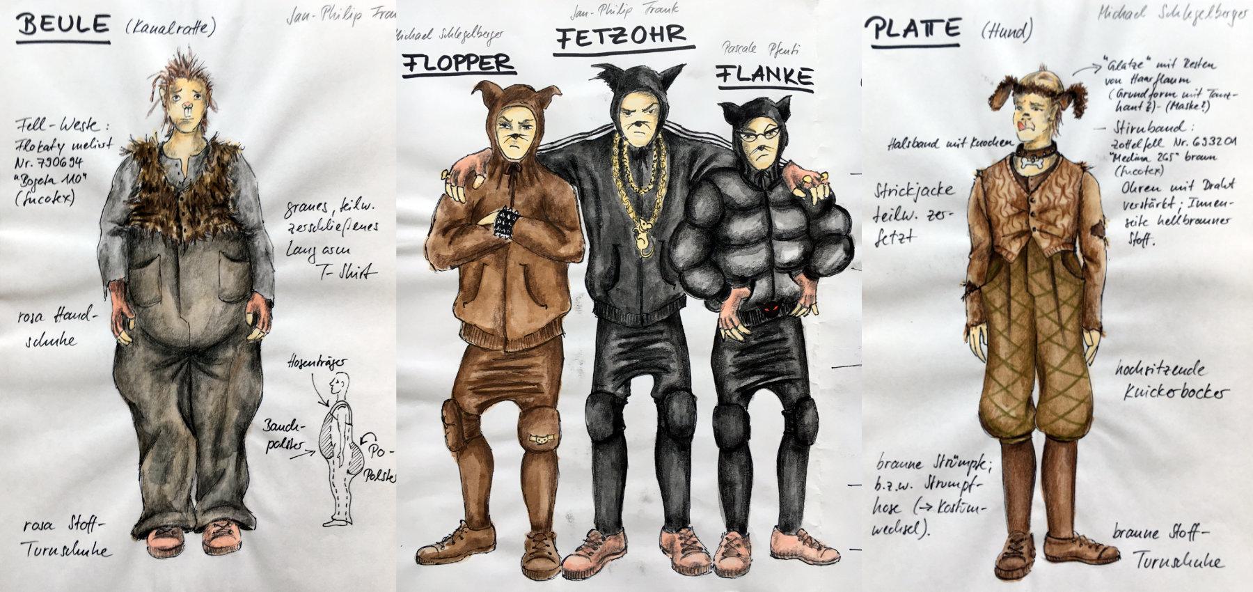 2010 // Bühnenbild und Kostüme für KRÜCKE VON UNTER DER BRÜCKE / Dürr / Regie: Thomas Hollaender / Staatstheater Mainz